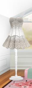 Lámpara con vestido de Mademoiselle . Precio : 16 sd .